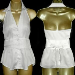 Button Front Halter Top
